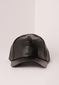 Missguided - Classic Black Faux Leather Baseball Cap