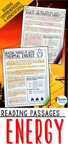 Energy Worksheets - Reading Comprehension Passages Questions and Annotations It contains 5 Engaging Non-Fiction Reading Comprehension Passages with Directions for Student Annotations! Reading Comprehension Questions also included! Science Lesson Plans, Science Resources, Science Lessons, Teaching Science, Teacher Resources, Life Science, Teaching Ideas, Science Student, Reading Comprehension Passages