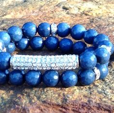 Dazzling Deep Blue Agate with Pave Bar by VellaAndRoJewelry, $35.00