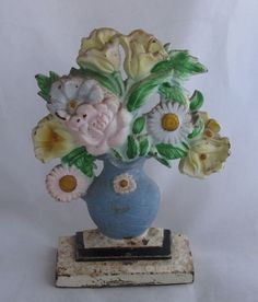 Antique Cast Iron Hubley #491 Small Painted Door Stop Flowers in Urn #Hubley