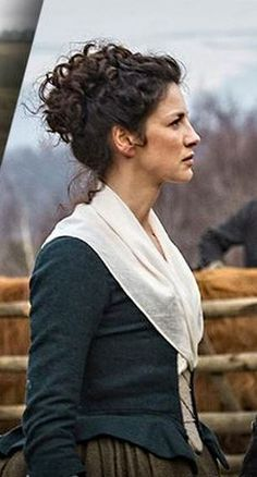Claire costume with blue bodice and white shawl collar | Outlander S1E5 'Rent' on Starz | Costume Designer TERRY DRESBACH