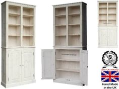 Pine Bookcase 100 Solid Wood White Wash Waxed Display Shelving Cupboard With