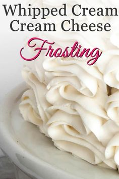 Whipped Cream Cream Cheese Frosting with Video! - The Merchant Baker Whipped Cream Cream Cheese Frosting. A combo of two favorites, you'll use this creamy, not too sweet frosting and filling for much more than topping cakes. Fluffy Cream Cheese Frosting, Whipped Frosting, Chocolate Cream Cheese, Buttercream Recipe, Frosting Recipes, Cupcake Frosting, Crusting Buttercream, Cheesecake Frosting, Cream Cheese Topping