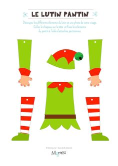 Le pantin lutin de Noël à imprimer et personnaliser , The Christmas elf puppet to print and personalize, Preschool Christmas, Christmas Crafts For Kids, Christmas Activities, Christmas Printables, Holiday Crafts, Christmas Holidays, Christmas Garden, Diy Xmas, Christmas Door Decorations