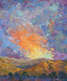 """Sherbet Dawn, original impressionist oil painting by landscape artist Erin Hanson. She has created a unique style of her own, bringing elements of classic impressionism together with modern expressionism and adding a dash of """"plein-air style. Erin Hanson, Modern Impressionism, Impressionist Paintings, Oil Paintings, Monet, Landscape Art, Landscape Paintings, Landscapes, Action Painting"""