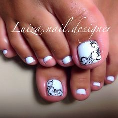 White Toe NailArt Pedicure Designs, Pedicure Nail Art, Toe Nail Designs, Toe Nail Art, Pedicure Ideas, Pretty Pedicures, Pretty Toe Nails, Cute Toe Nails, Feet Nails