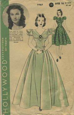 Vintage Sewing Pattern featuring Vivien Leigh as Scarlett O'Hara in Gone With the Wind. A Selznick International Picture. Produced by David O. Selznick. A Metro-Goldwyn-Mayer release. | Hollywood 1987 | Year 1939 | Bust 34 | Waist n/a | Hip 37