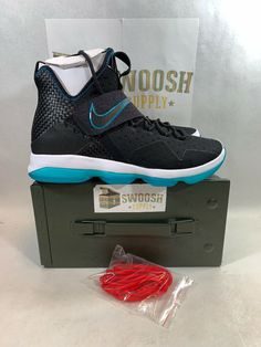 20a8bf16411 Nike Lebron 14 PRM Red Carpet Mens 943323-002 Black Glass Blue Shoes Size  9.5