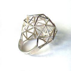 Geometric Jewellery - silver ring with domed 3D structure; architectural jewelry…