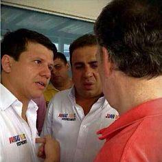 Ñoño Elías, Musa Besaile y, de espaldas, Santos. El sábado pasado, el Presidente-candidato recorrió varios municipios de Sucre y Córdoba