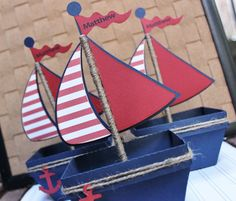 Boat Nautical Favor Box Treat Box Set Of by PaperletteDesigns Nautical Favors, Nautical Invitations, Nautical Party, Baby Shower Themes, Baby Boy Shower, Baby Showers, Pirate Photo Booth, Ideas Decoracion Cumpleaños, Mickey Mouse Favors