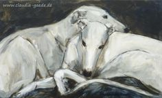 Two greyhounds (galgos), acrylic on canvas, 37 x 62 cm