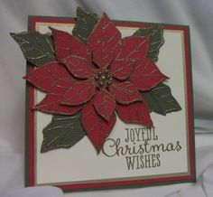 Julia's Cards: Poinsettia Christmas Wishes