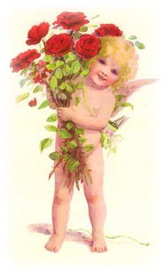 Sweet cherub with roses...