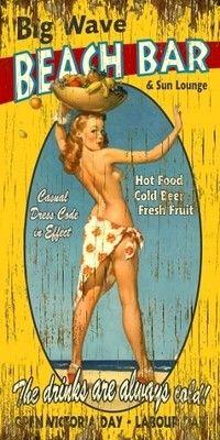 "Fantastic Vintage Style Wood 11"" x 23"" Very Cool Beach Bar Lounge Sign | eBay"