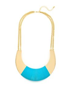 Simply Structured Threaded Collar Necklace - Gold and Turquoise  $11.50
