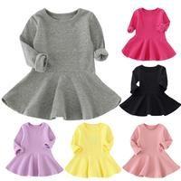 Hongxin Kids Baby Girls Clothes Casual Long Sleeve Plaid Shirt Tops Belt Puff Dress Patchwork Party Princess Dress Skirt