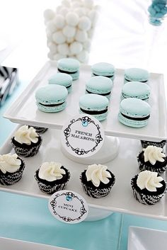 Entertaining for birthday wedding reception engagement baby shower party: tiffany blue, white and black colour theme dessert table with mini cupcakes and french macarons (mw)