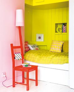 Built in bed with storage. Colour pops