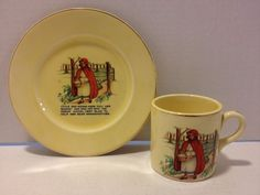 The Edwin M. Knowles China Co: Little Red Riding-Hood Cup And Plate.