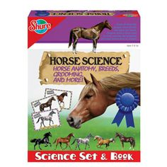 $19.99 - Horse Science - Science Set & Book by Shure. All about horse breeds, anatomy, care, grooming, accessories, and more. •  Learn all about popular horse breeds and parts of a horse with this science set and book.•   Learn all about horse markings, grooming, and anatomy. • Use the included horse cards to discover even more about different breeds of horses. • Horse Science set includes 16 page book, horse poster, 2 anatomy charts, 18 punchout horses with stands, full-color scene...