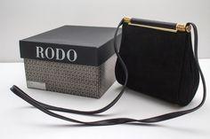Rodo Vintage Womens Handbag Clutch Suede Black by NeedfxGR on Etsy
