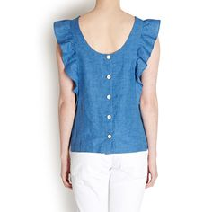M.i.h Jeans  Blue Caval Frill Top