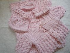 Baby girl pink jacket hat booties and blanket by QUINNYSCROCHET, $95.00