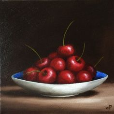 Cherry dish, Ready to Hang Original oil painting still life by Jane Palmer by JanePalmerArt on Etsy