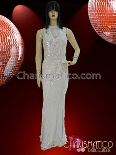 CHARISMATICO Silver Sequin and Crystal Accented Fringed Slinky White Long Gown