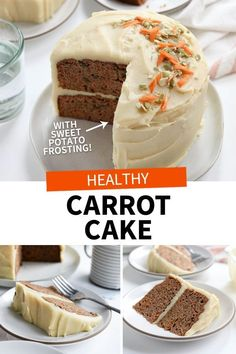 This healthy Carrot Cake is high in protein, made with gluten-free coconut flour. I love that it's grain-free and naturally-sweetened! #glutenfree #carrotcake #easter #easterrecipes #coconutflour #healthyrecipe #healthyrecipes #glutenfreerecipes #dairyfree #sweetpotato #healthydessert #detoxinista Healthy Carrot Cakes, Healthy Sweets, Healthy Baking, Healthy Foods, Baking Recipes, Cake Recipes, Dessert Recipes, Paleo Dessert, Vegan Desserts