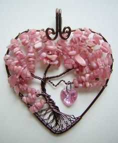 Love tree of life pendant by RachaelsWireGarden on DeviantArt. So sweet, the epitome of spring romance!
