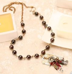 The Hideaway:  garnet vintage key crystal sari by StudioEgallery