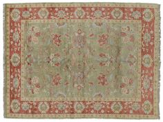 ASYA USHAK / TURKEY Item Number:24760 Width: 5 ft. 9 in. Length: 8 ft. 2 in. Field: ALL OVER PATTERN Field Color: GREEN Border Color: RED (828)-687-1968 www.togarrugs.com
