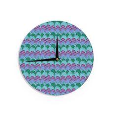 "Jane Smith ""Woodland Waves"" Teal Purple Wall Clock"