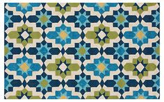 "5'x7'6"" Dozer Outdoor Rug, Cobalt 
