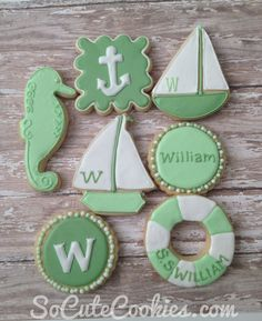 Nautical Beach Baby Shower ~ green mint seafoam cookies ~ shabby chic vintage soft delicious blog