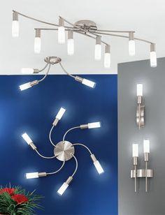 Lampa sufitowa 5-płomienna SAMANTA firmyEglo. PROMOCJA od 14.09.2012 do wyczerpania zapasów ! Potwierdzamy dostępność   Nowoczesne wzornictwo. Elegancka lampa typu plafon, elementy metalowe w kolorze chrom satyna. Klosze w kształcie tulejek z białego, satynowego szkła z przezroczystymi obrzeżami. Konstrukcja lampy umożliwia dowolne ustawienie ramion dzięki zastosowaniu giętkich elementów typu peszel. Źródłem światła sążarówki energooszczędne 9W = 40W w komplecie  Opis techniczny…