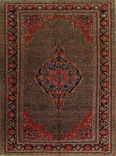 Antique Bijar Rug –  Circa:	1890 Sizes:	9.4X12.8