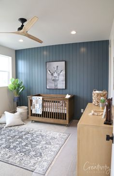 2019 UV Parade of Homes Recap Part 2 2019 Painted shiplap accent wall painted with Sherwin Williams Slate Tile The post 2019 UV Parade of Homes Recap Part 2 2019 appeared first on Nursery Diy. Decor, Blue Accent Walls, Accent Wall Bedroom, Ship Lap Walls, Shiplap Accent Wall, Home Decor, Living Room Wall, Bedroom Wall, Nursery Accents