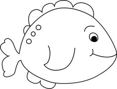 Black and White Little Fish Clip Art Image - black and white outline ...