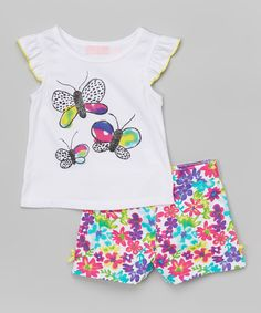 Look at this #zulilyfind! Kids Headquarters White Butterfly Top & Pink Shorts - Infant, Toddler & Girls by Kids Headquarters #zulilyfinds
