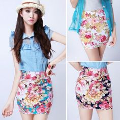 New Fashion Women High Waist Slim Skirts Floral Print Elastic Short Mini Dress