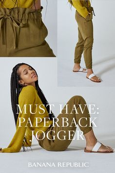 With a flattering paperbag waist and a modern high-rise fit, this new super-soft jogger is as put-together as it is comfortable — and it pairs well with slippers for video calls. Shop now at Banana Republic. Fall Outfits, Casual Outfits, Cute Outfits, Fashion Outfits, Womens Fashion, Fashion Trends, Peuque Jeans, Banana Republic, Work Attire