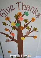 Thanksgiving Tree - You can write what you are thankful for on a leaf then add it to the tree.  Great Idea to remind your kiddos that there are lots to be thankful for!