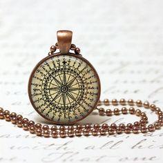 Compass Vintage Pendant Nature Marine Ocean Sea Compass Necklace (194)