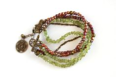 Brass bracelet Boho Bracelet Peridot Beaded by DlightedJewelry, $30.00