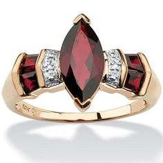 Shop for 2.84 TCW Marquise-Cut Garnet and Diamond Accent Ring in 10k Gold. Get free delivery at Overstock.com - Your Online Jewelry Destination! Get 5% in rewards with Club O! - 14837789