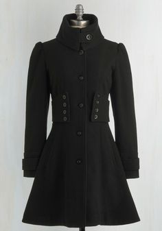 The Importance of Being Onyx Coat - Solid, Buttons, Long Sleeve, Black, Work, Casual, French / Victorian, Winter, Military, Black, 3, Long, Fall