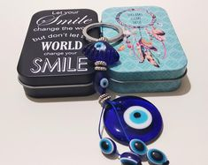 Christmas gift ideas, Evil eye keychain Keyring with Blue Glass Eye Bead and Charm with Metal Box, Evil eye charm, bulk gifts, Greek Mati by GreekEvilEyes on Etsy Greek Evil Eye, Evil Eye Charm, Evil Eye Bracelet, Love Bracelets, Blue Beads, Sell On Etsy, Couple Gifts, Valentine Day Gifts, Gifts For Him